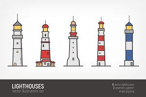 8 lighthouses - seamless pattern,set