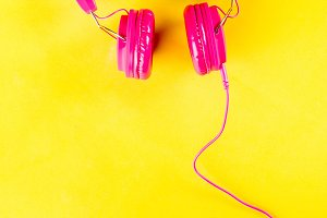 Bright pink headphones