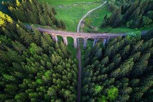 Historic railway viaduct near Telgart in Slovakia
