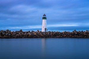 Walton Lighthouse at the Santa Cruz harbor in Monterey bay, California