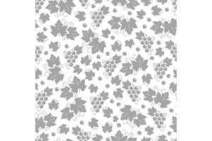 Leaves and grapes seamless pattern design