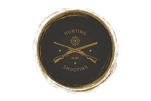 Grunge hunt club logo with rifle