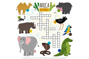 African safari animals crossword