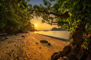 Sunset over the beach of Ko Hong island in the Krabi province, Thailand