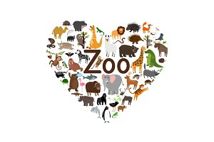 Zoo heart shape illustration