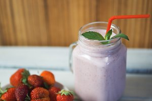 Strawberry smoothie with copy space