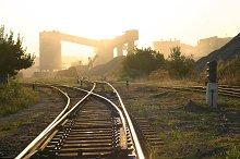 evening landscape with railroad rail