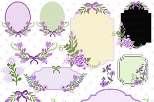 Floral Frames & Tags Clipart AMB-860
