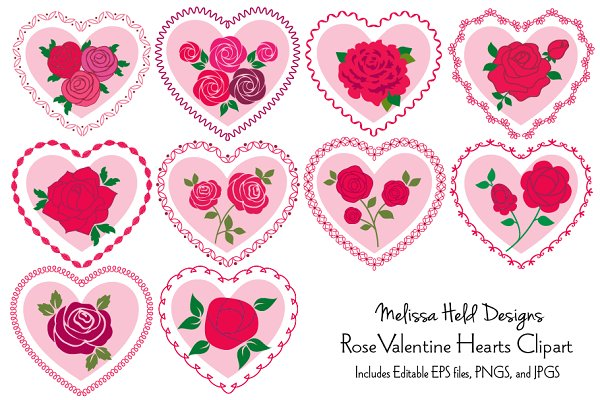 Rose Valentine Hearts Clipart
