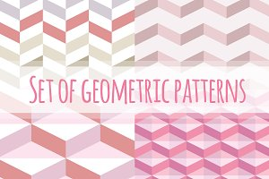 Set of pink geometric patterns