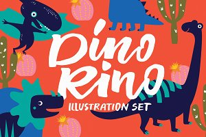 Dino Rino Illustration set
