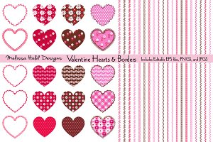 Valentine Hearts, Borders & Patterns