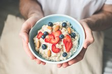 Breakfast oatmeal porridge bowl