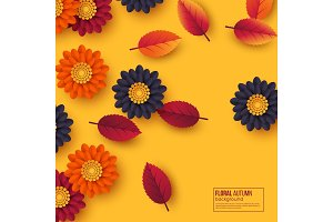 Floral autumn background with 3d paper cut style flowers and leaves. Yellow, orange, purple colors, vector illustration.
