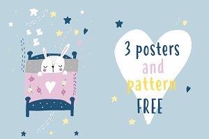 Rabbit - poster, pattern FREE