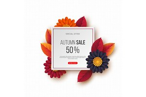 Autumn sale banner with 3d leaves, flowers and dotted pattern. White background - template for seasonal discounts, vector illustration.