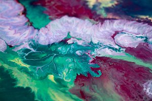 abstraction of the flowing multi-colored acrylic