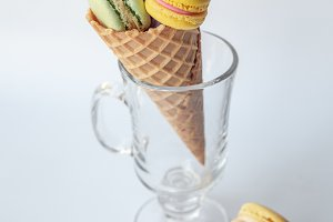 Macaroons in glass mug