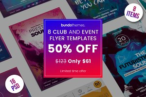 50%OFF 8 Club and Event Flyer Bundle