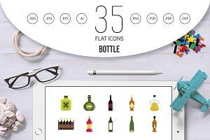 Bottle icon set, flat style