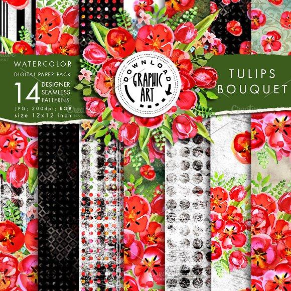 Red Tulips Digital Seamless Pattern