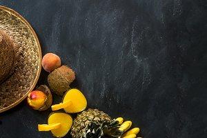 overhead vegan raw fruit meal and women hat