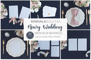 Navy Wedding Mockup Bundle, Dark Bg