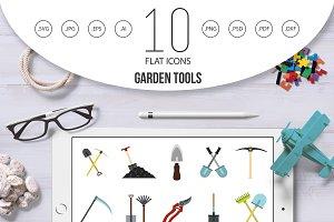 Garden tools icon set, flat style