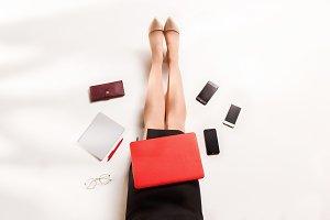 Fashion blogger writing on laptop computer