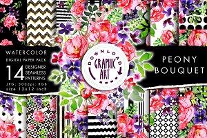 Pink Peony seamless digital pattern
