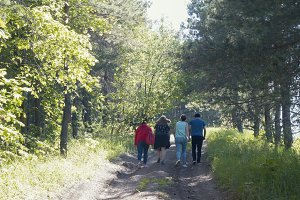 Group of young people walking on the forest path at sunny day