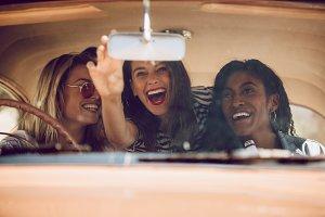 Cheerful female friends