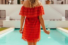 Woman at pool side