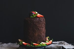 Chocolate high cake with strawberry