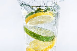 Lemons and limes in the glass