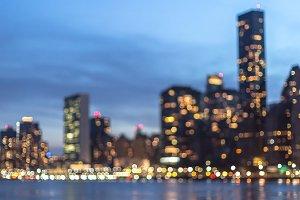 Blurred night view on Manhattan