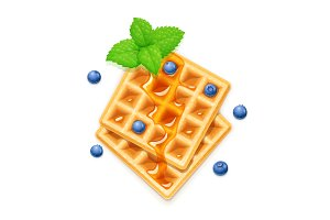 Belgian Waffle, blueberries, honey