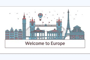 Welcome to Europeposter with famous attractions illustration. Travel on the world concept Vector illustration