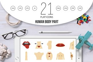 Human body part icon set, flat style