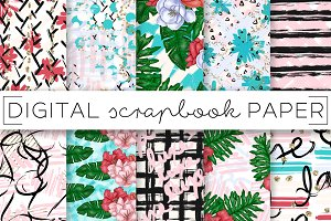 Tropical Abstract Digital Papers