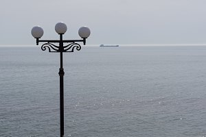 Lamppost on background of the sea