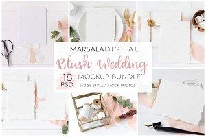 Elegant Blush Wedding Mockup Bundle