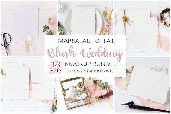 Elegant Blush Wedding Mockup Bundle
