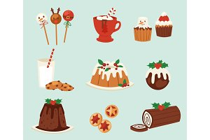 Christmas food vector desserts holiday decoration xmas family diner sweet celebration meal illustration. Traditional festive winter cake homemade x-mas party