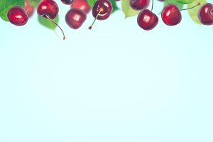 Summer berry cherry background. Collage of flying berries
