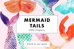 Mermaid Tails Watercolor Cliparts