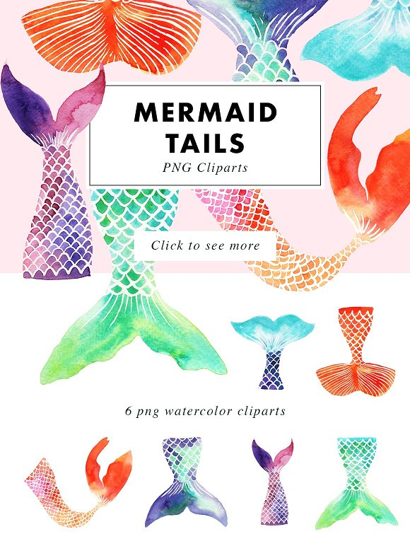 Mermaid Tails Watercolor Cliparts Illustrations Creative Market