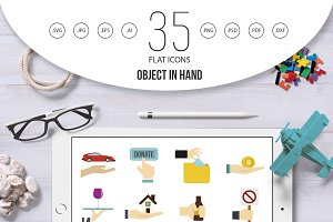 Object in hand icon set, flat style