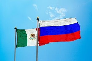Russia vs Mexico flag on the mast