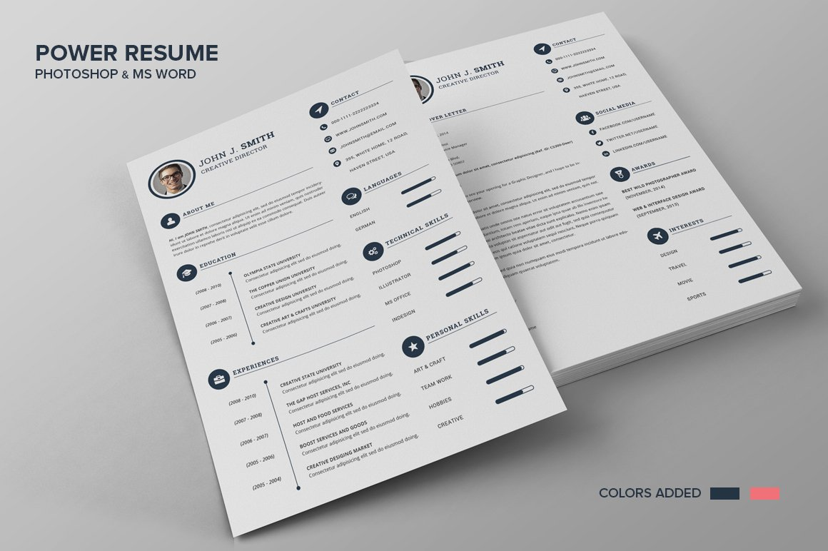 Power Resume CV - Smith ~ Resume Templates ~ Creative Market
